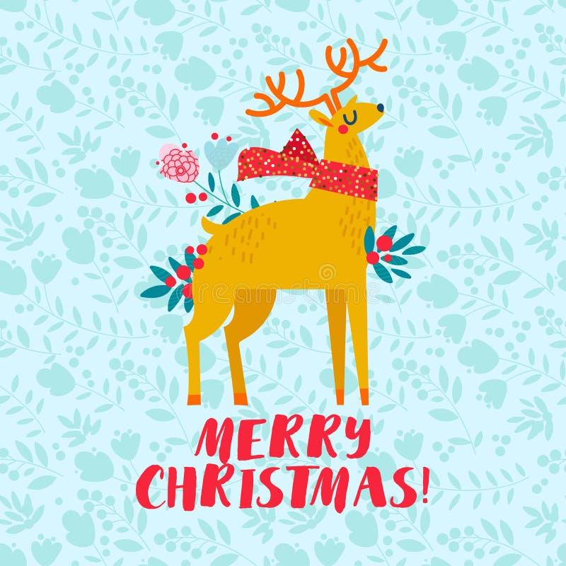 Cartolina di Natale dorata dei cervi di Natale, illustrazione di vettore del modello royalty illustrazione gratis