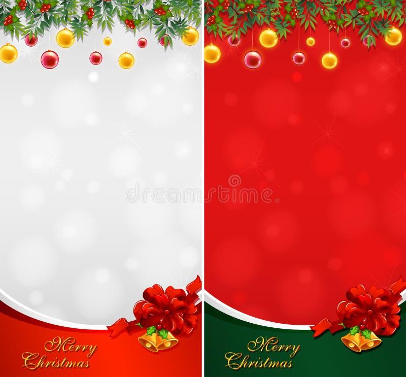 Cartolina di Natale due con le palle e le campane illustrazione vettoriale