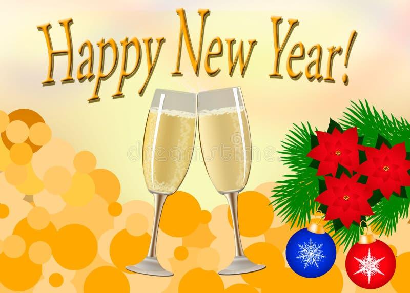 Cartolina di Natale Due vetri di champagne, un ramo di albero con Chr royalty illustrazione gratis