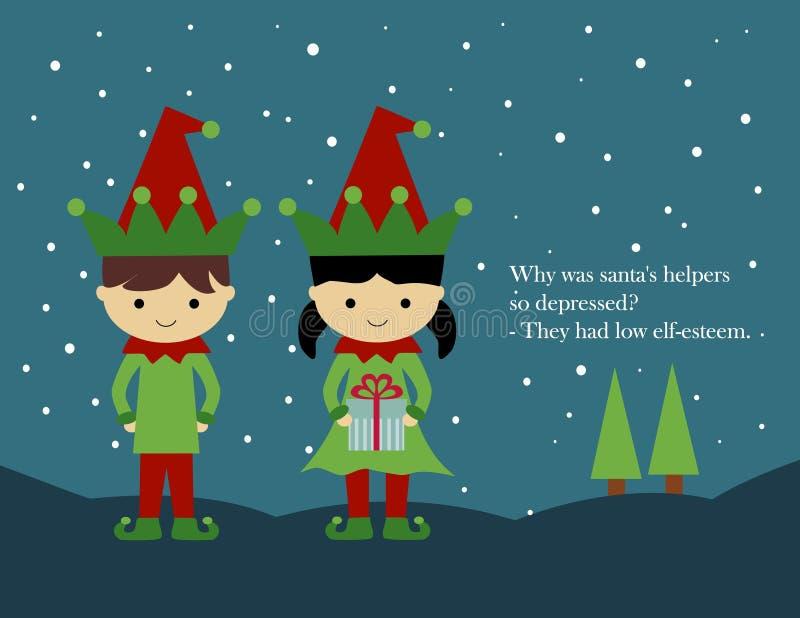 Cartolina di Natale: Elfi fotografie stock