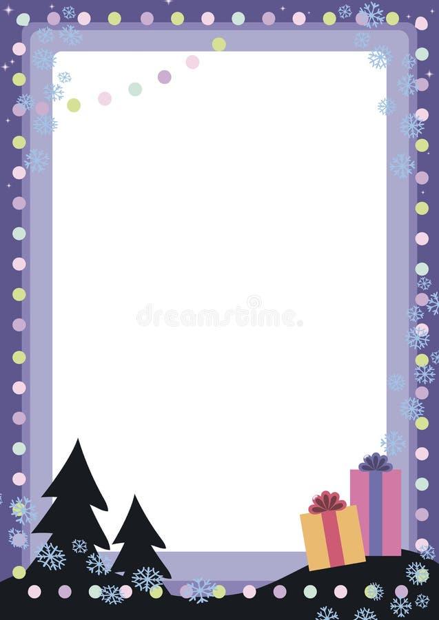 Cartolina di Natale festiva del nuovo anno di vettore blu con le lanterne variopinte delle palle, due alberi e la decorazione del illustrazione di stock