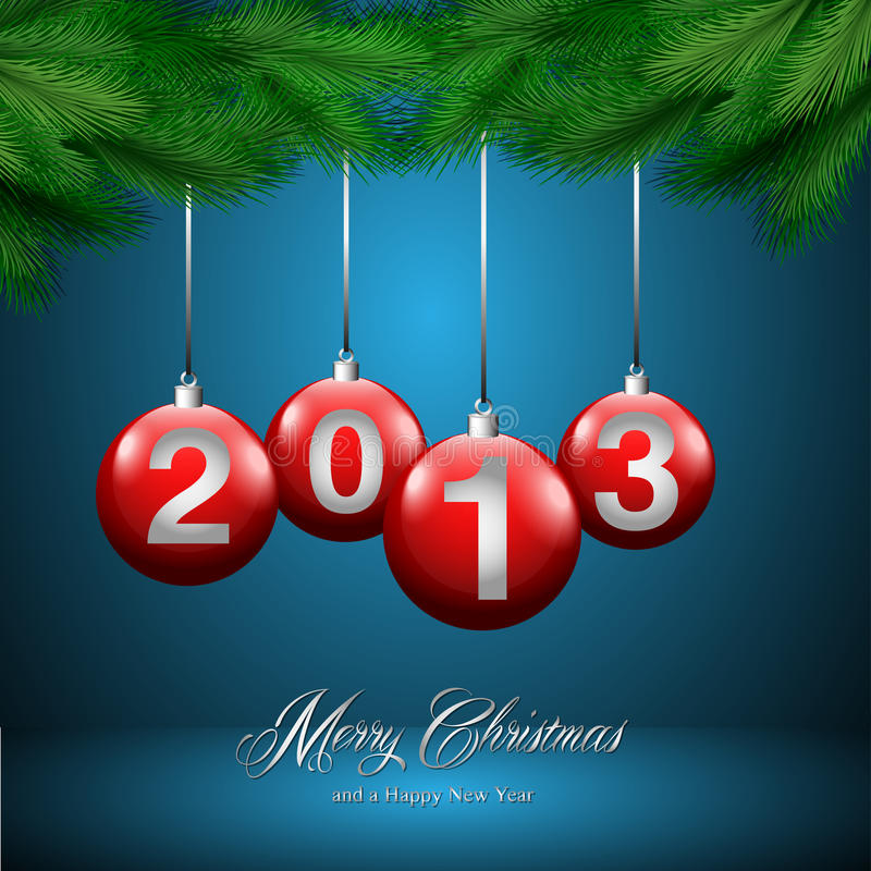 Cartolina di Natale, fondo blu illustrazione vettoriale
