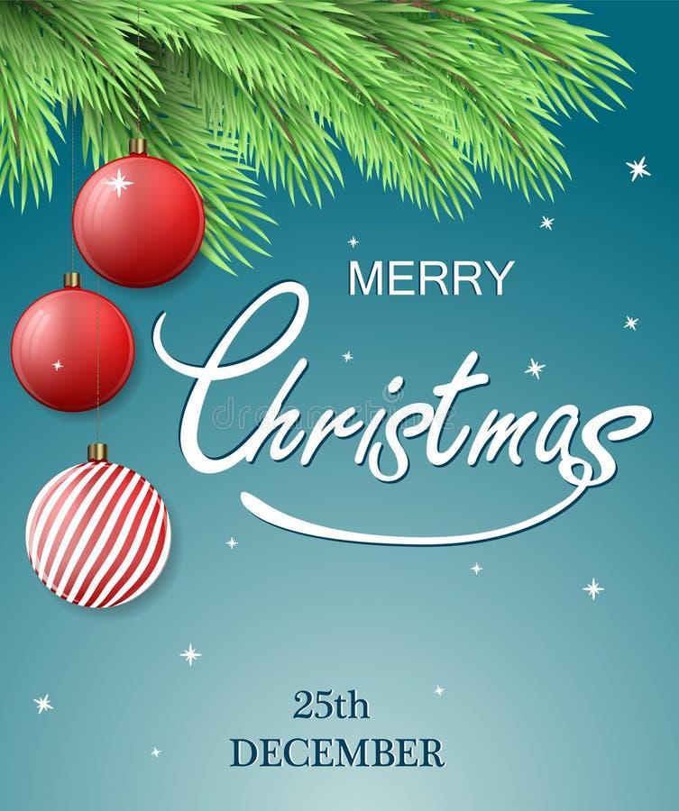 Cartolina di natale Fondo di Buon Natale con il ramo di albero dell'abete e le decorazioni di Natale, palle d'attaccatura illustrazione vettoriale