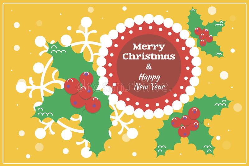 Cartolina di Natale/fondo piani di progettazione con agrifoglio immagine stock