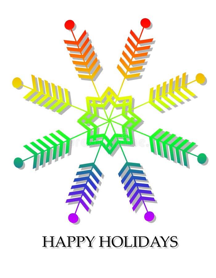 Cartolina di Natale gaia del fiocco di neve della bandierina di orgoglio illustrazione vettoriale
