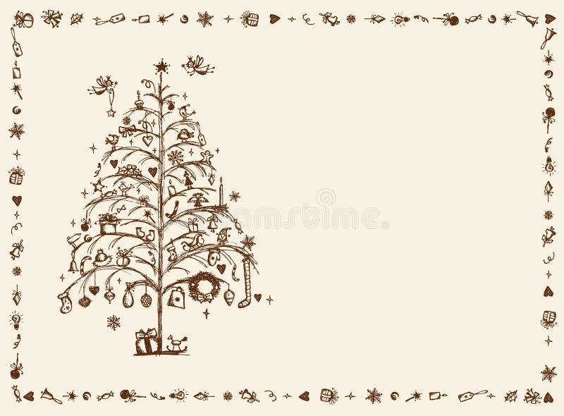 Cartolina di Natale, illustrazione di abbozzo per il vostro disegno royalty illustrazione gratis