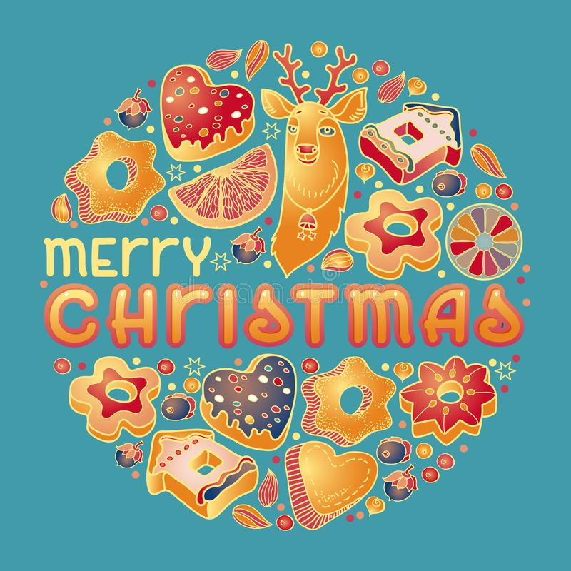 Cartolina di Natale Illustrazione disegnata a mano con iscrizione Biscotti, cervi Vettore illustrazione di stock