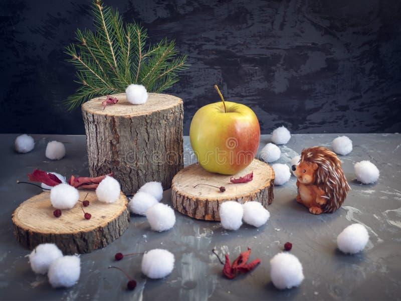 Cartolina di Natale L'istrice esamina una grande mela giallo-rossa, che è trovata sulla canapa della foresta Palle di neve, fogli fotografia stock