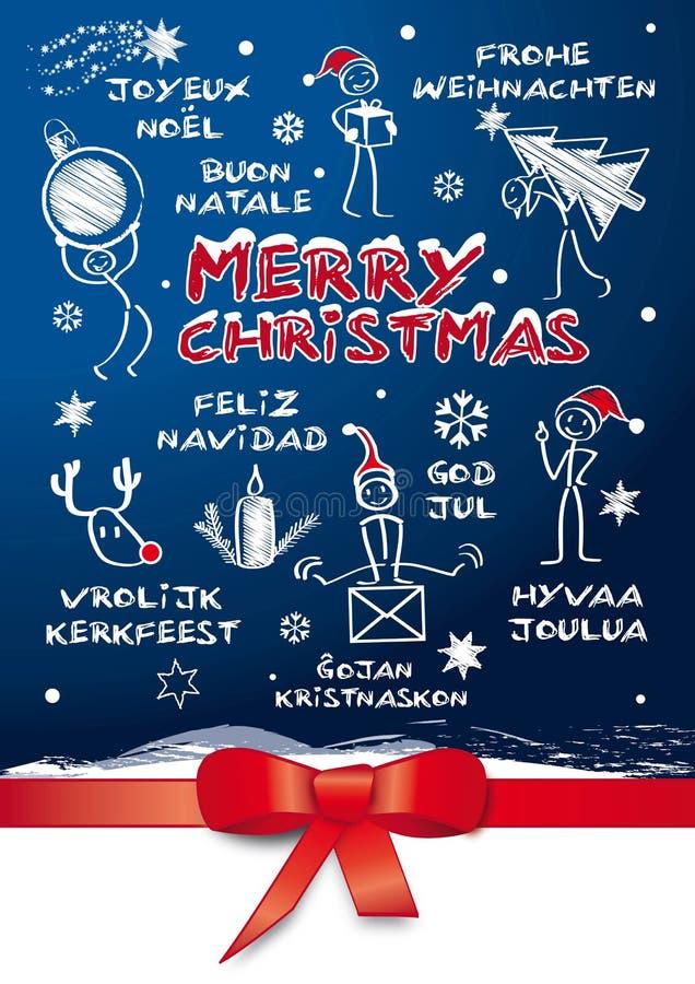Cartolina di Natale multilingue illustrazione vettoriale