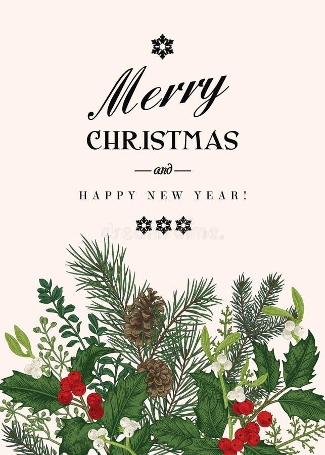 Cartolina di Natale nello stile dell'annata royalty illustrazione gratis