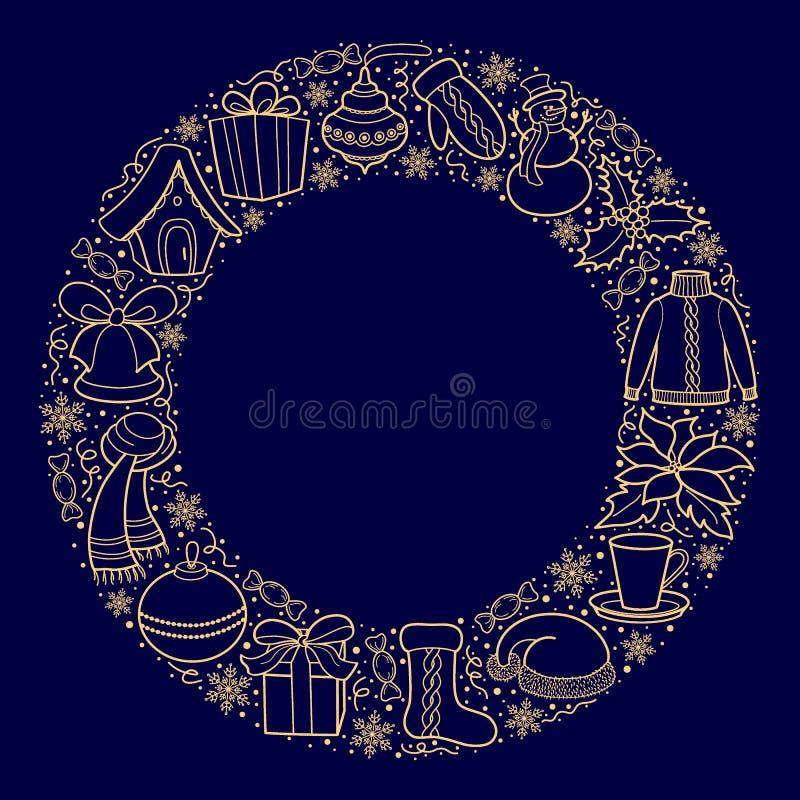 Cartolina di Natale o insegna con le icone di festa su una struttura rotonda Siluette dell'oro di un pupazzo di neve, cappuccio d illustrazione vettoriale