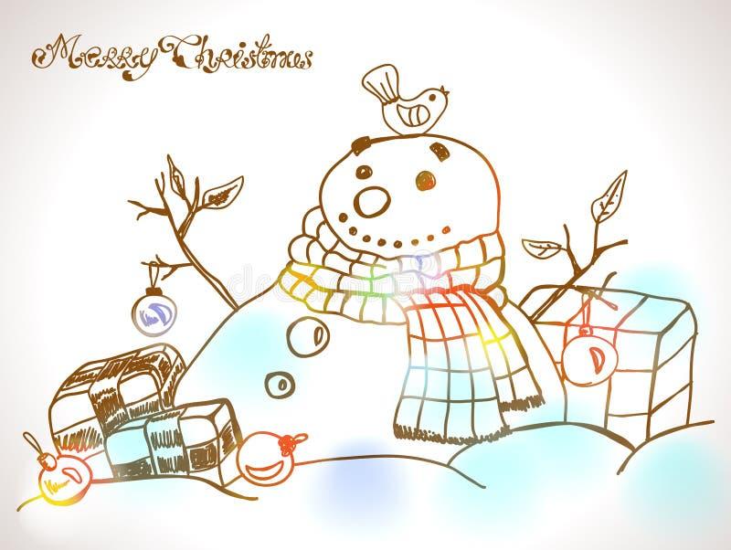 Cartolina Di Natale Per Progettazione Di Natale Con Il Pupazzo Di Neve Disegnato A Mano Immagine Stock Libera da Diritti