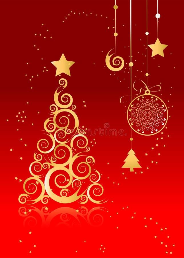 Cartolina di Natale, pino dorato royalty illustrazione gratis