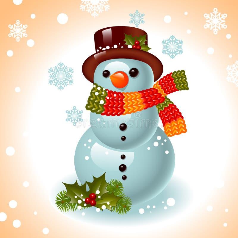 Cartolina di Natale. pupazzo di neve illustrazione di stock