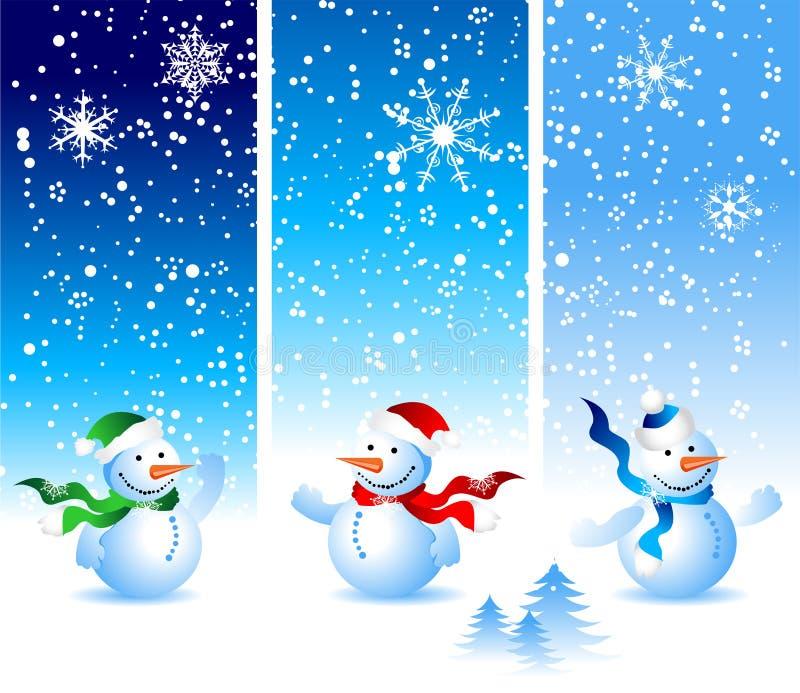 Cartolina di Natale, pupazzo di neve illustrazione di stock