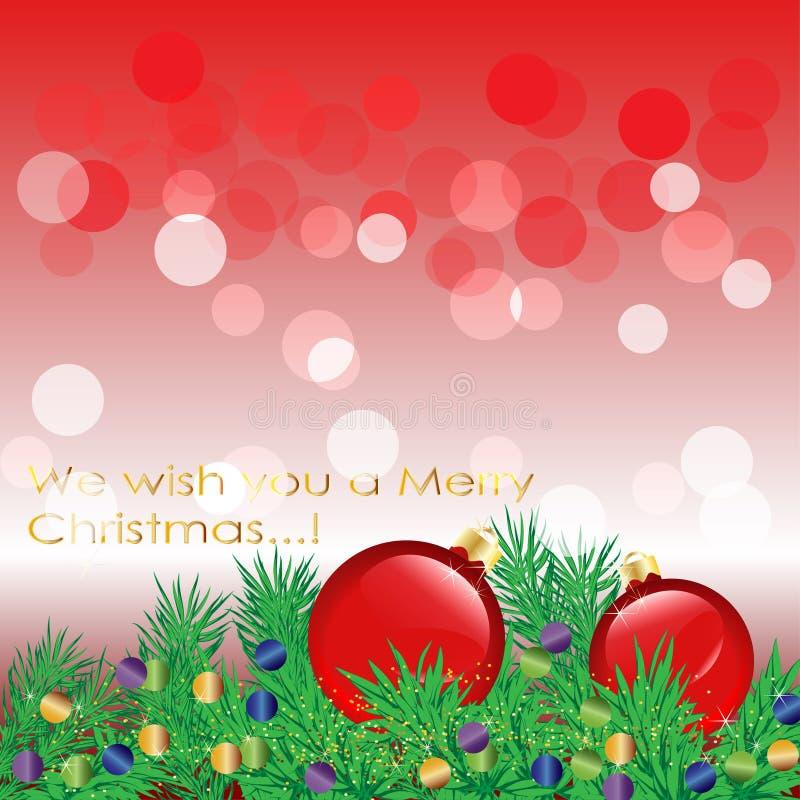Cartolina di Natale, rami attillati, palle su fondo rosso illustrazione di stock