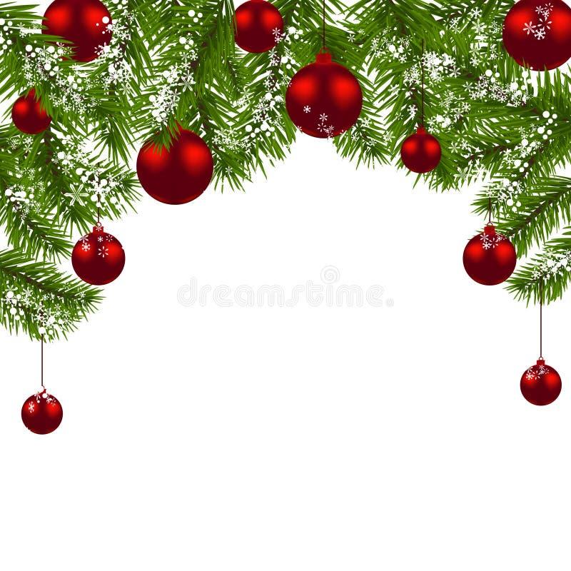 Cartolina di Natale Rami verdi di un albero di Natale con le palle ed i fiocchi di neve rossi su un fondo bianco Nuovo anno illustrazione di stock