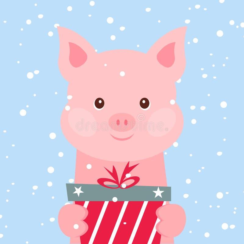 Cartolina di Natale Ritratto del maiale rosa con il contenitore di regalo, fiocco di neve Fronte divertente del fumetto di un mai illustrazione di stock