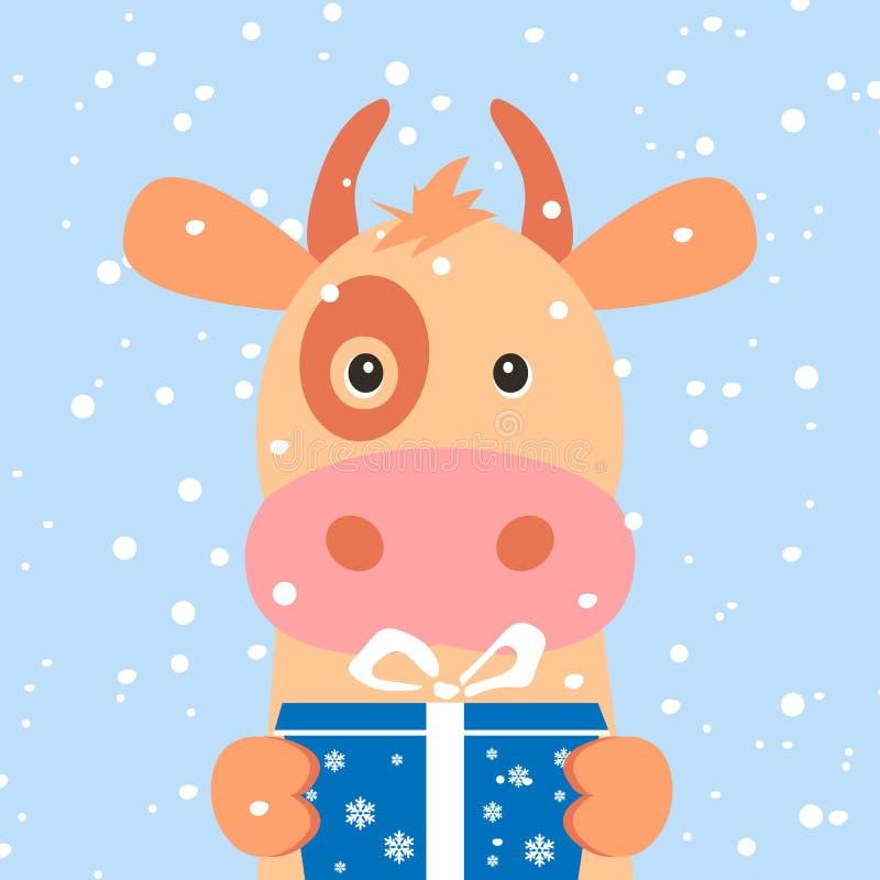 Cartolina di Natale Ritratto della mucca con il contenitore di regalo, fiocco di neve Fronte divertente del fumetto di una mucca  royalty illustrazione gratis