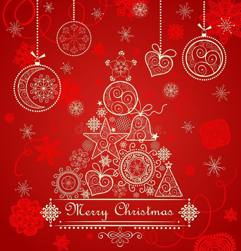 Cartolina di Natale rossa d'annata con la conifera di pizzo dorata e le bagattelle d'attaccatura royalty illustrazione gratis