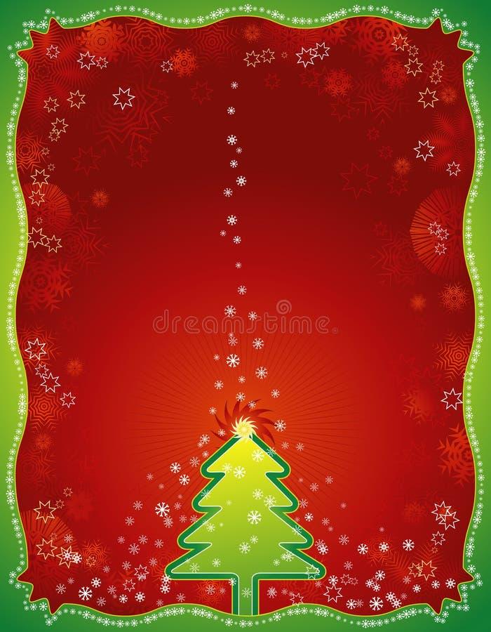 Cartolina di Natale rossa, vettore illustrazione di stock