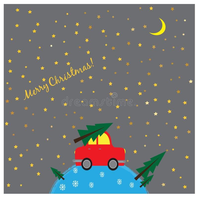 Cartolina di Natale di saluto con la retro automobile rossa con l'albero di Natale illustrazione vettoriale