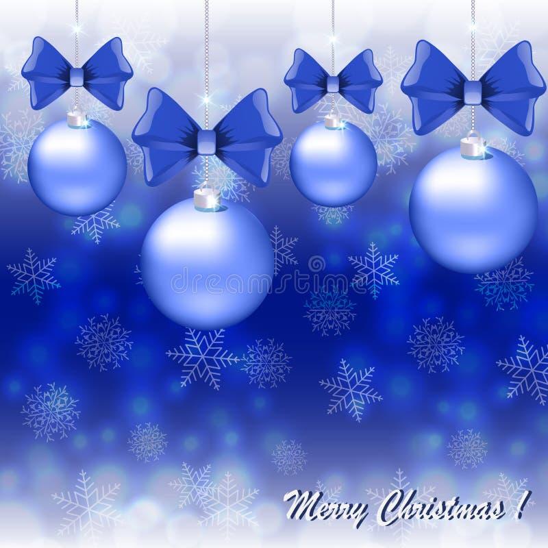 Cartolina di Natale di saluto con le palle blu sul fondo dei fiocchi di neve royalty illustrazione gratis