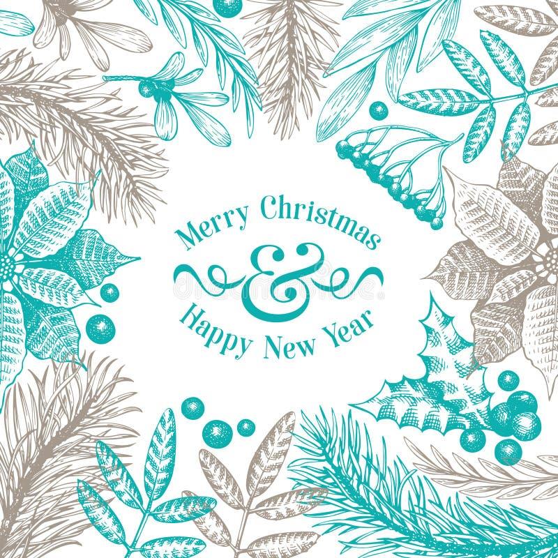 Cartolina di Natale di saluto nello stile d'annata Illustrazioni disegnate a mano di vettore La pagina con conifero, pino si rami illustrazione di stock