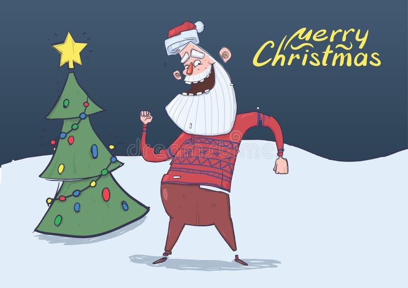 Cartolina di Natale di Santa Claus sorridente nel dancing del maglione dei cervi nella notte davanti all'albero di Natale decorat illustrazione vettoriale