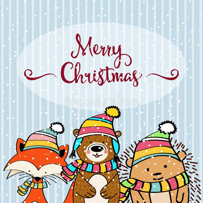 Cartolina di Natale di scarabocchio illustrazione di stock