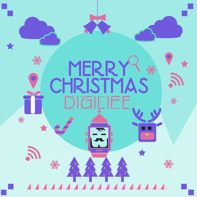 Cartolina di Natale Smartwatch fotografie stock