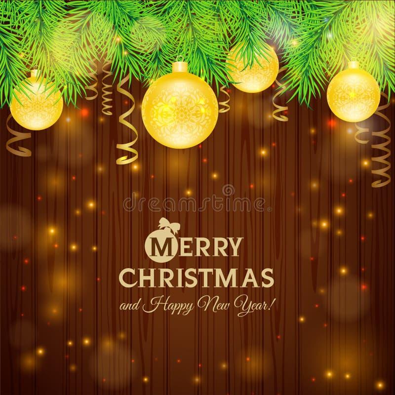Cartolina di Natale sui precedenti di legno illustrazione di stock