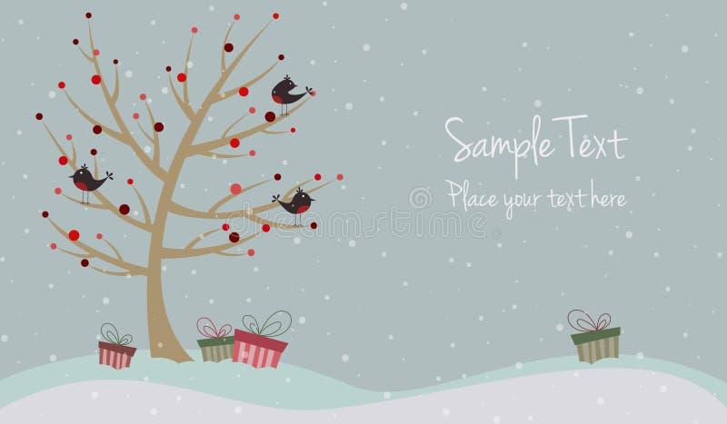 Cartolina di Natale sveglia con gli uccelli illustrazione di stock