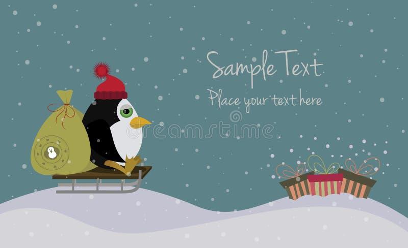 Cartolina di Natale sveglia con un pinguino su una slitta illustrazione di stock
