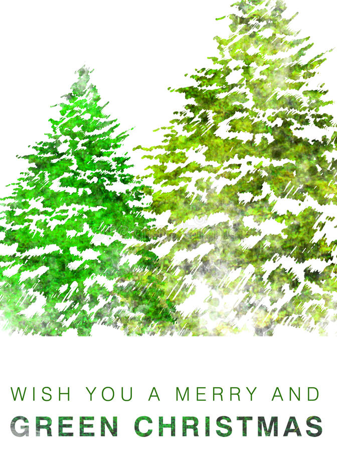 Cartolina di Natale verde illustrazione di stock