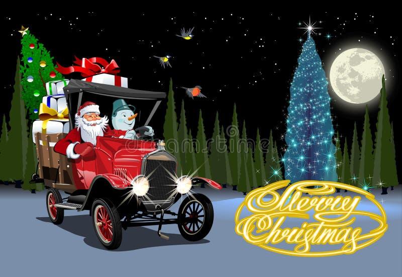Cartolina di Natale di vettore con il retro camion di Natale del fumetto royalty illustrazione gratis