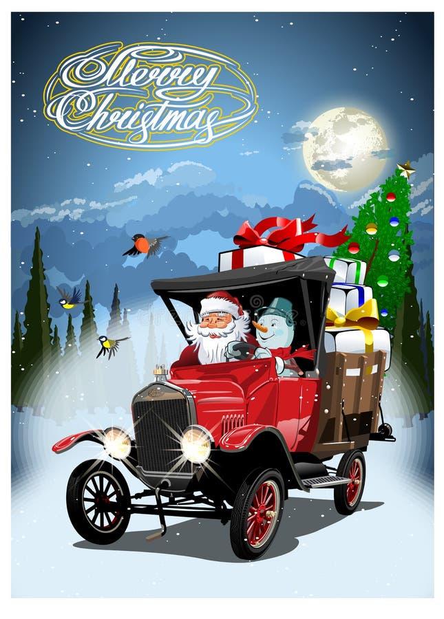 Cartolina di Natale di vettore con il retro camion di Natale del fumetto illustrazione vettoriale