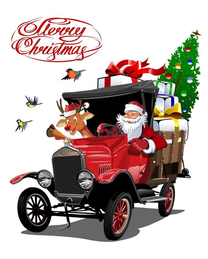 Cartolina di Natale di vettore con il retro camion di Natale del fumetto illustrazione di stock