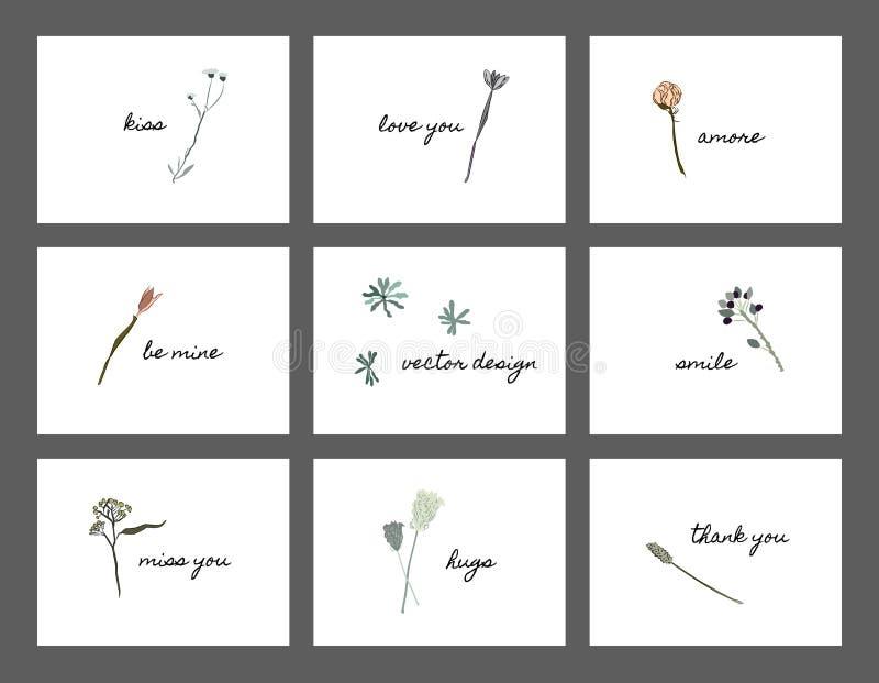 Cartolina di ringraziamento con i fiori fotografia stock