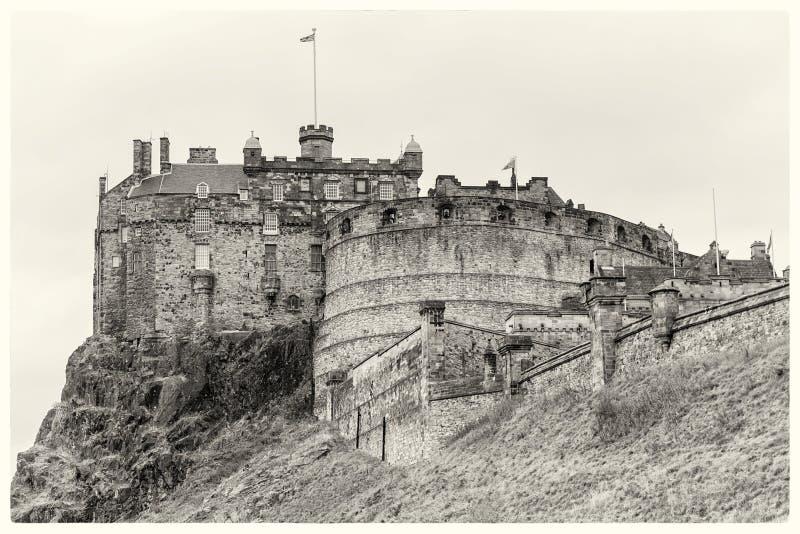 Cartolina di seppia del castello di Edimburgo immagine stock libera da diritti