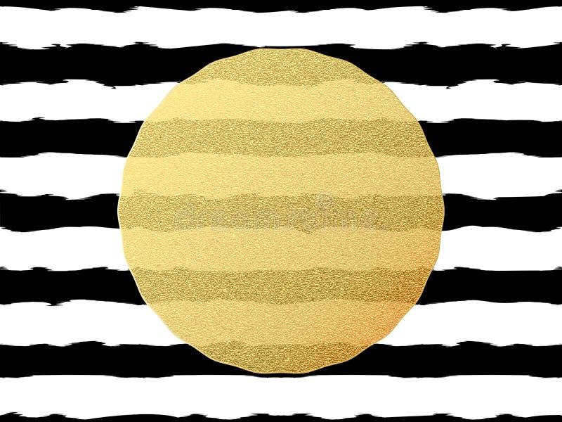 Cartolina elegante e di lusso con la cartolina d'auguri della stagnola di scintillio dell'oro Bande nere, elemento brillante dora illustrazione vettoriale