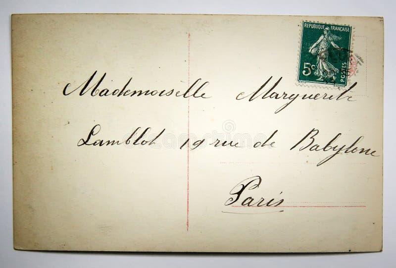 Cartolina francese antica con il bollo da Parigi fotografia stock libera da diritti