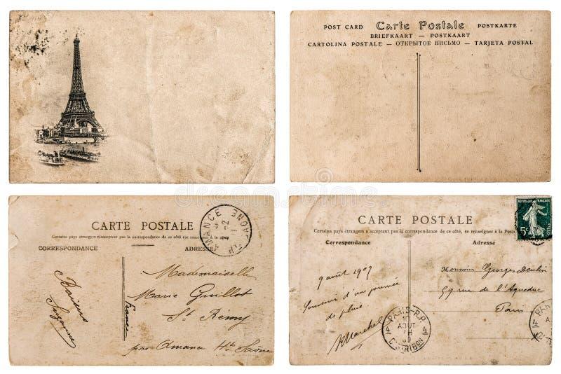 Cartolina francese antica con il bollo da Parigi Elemen dell'album per ritagli fotografie stock