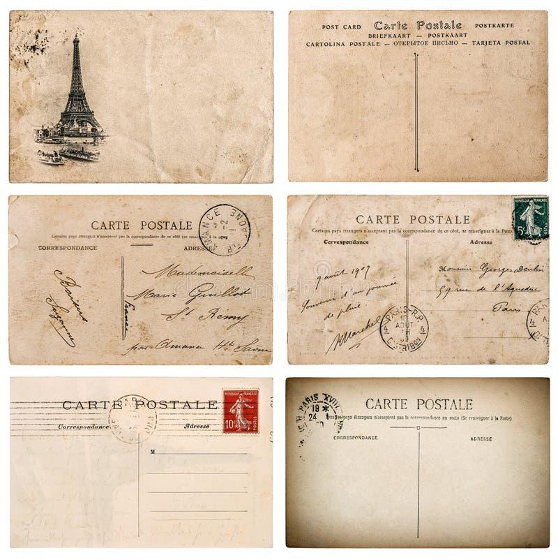 Cartolina francese antica con il bollo da Parigi Elemen dell'album per ritagli fotografia stock libera da diritti