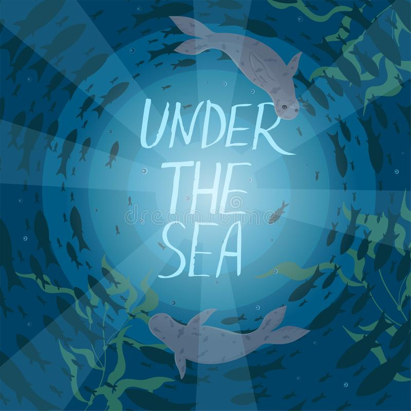 cartolina Guarnizioni e nuotata del pesce in un cerchio nel mare L'iscrizione sotto il mare Illustrazione di vettore royalty illustrazione gratis