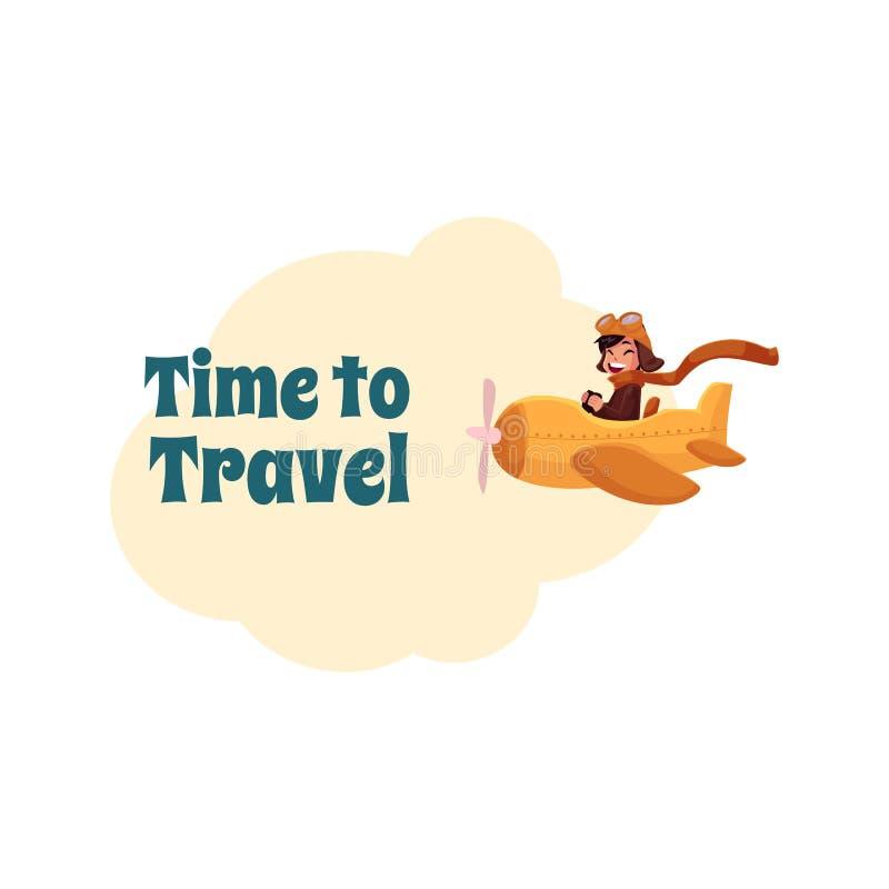 Cartolina, insegna, progettazione del manifesto con il pilota del ragazzino in aeroplano illustrazione di stock