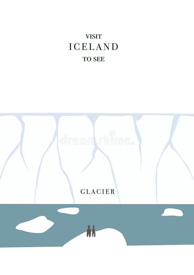 Cartolina invating dell'Islanda Illustrazione degli iceberg e del ghiacciaio, progettazione piana semplice royalty illustrazione gratis