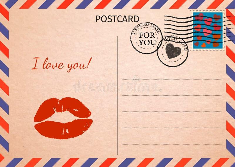 cartolina Labbra rosse e parole ti amo Posta aerea Carta postale i illustrazione di stock