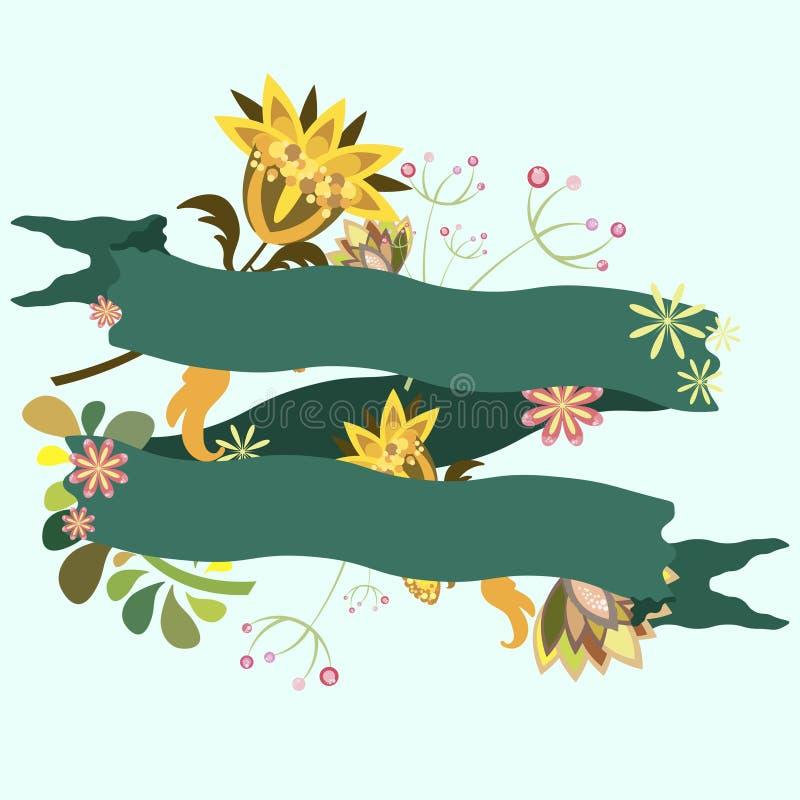 Cartolina, logo, modello dell'invito con composizione floreale illustrazione vettoriale