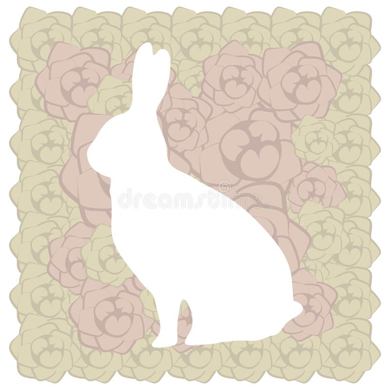Cartolina marrone beige floreale bianca sveglia del coniglio di pasqua con la rosa di rosa royalty illustrazione gratis